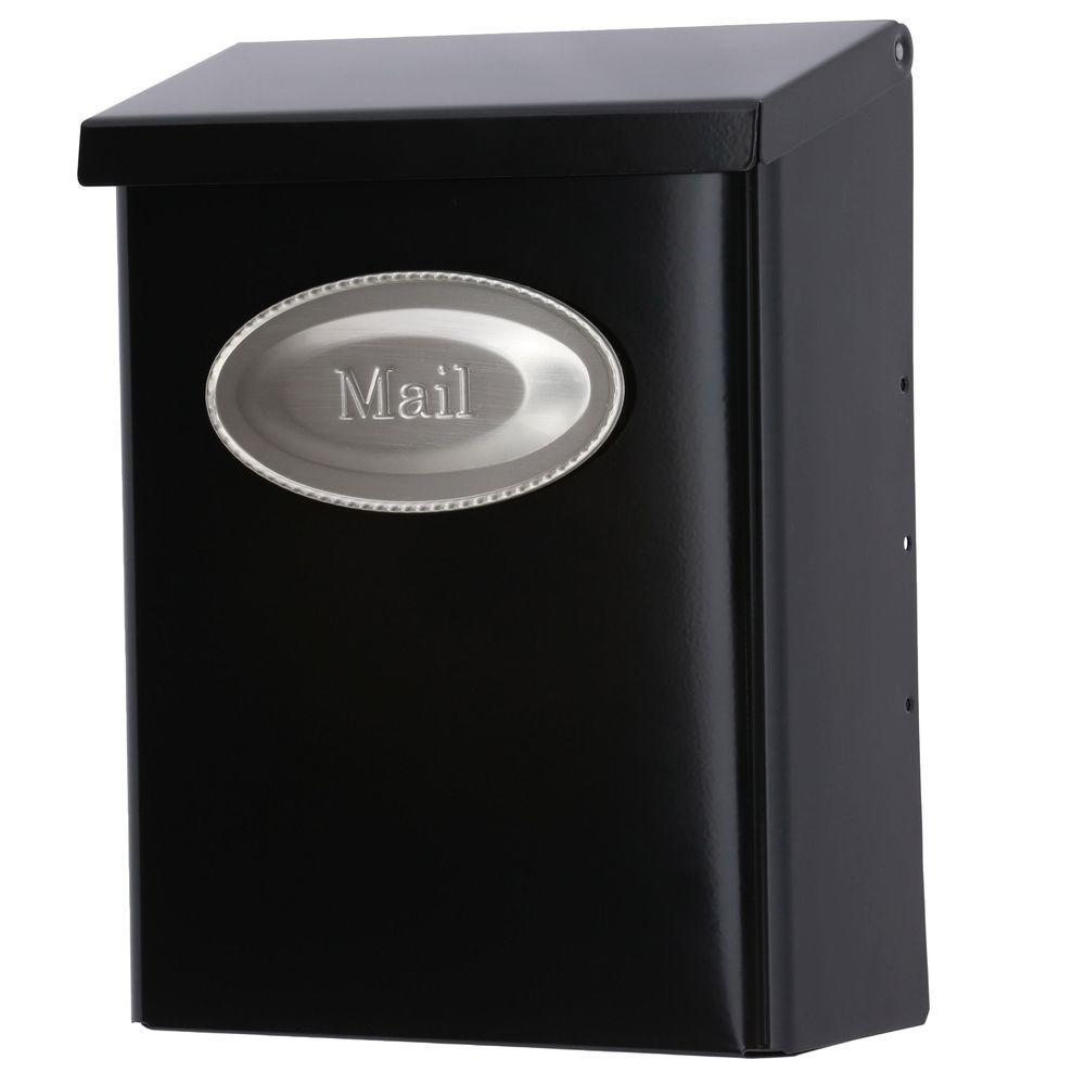 Designer Black Satin Nickel Decorative Emblem Vertical Wall-Mount Locking Mailbox