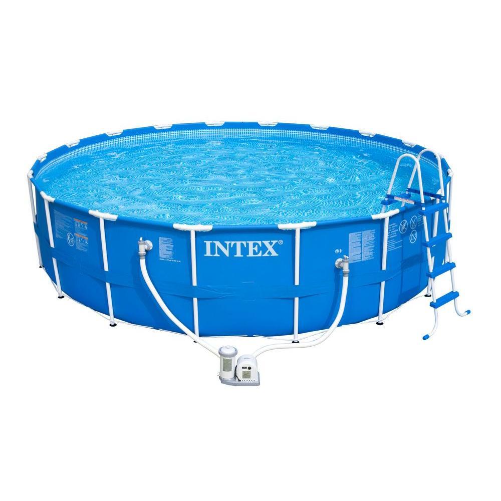 Intex 18 ft. Round x 48 in. Deep Metal Frame Pool with 1,500 gal. Cartridge Filter Pump