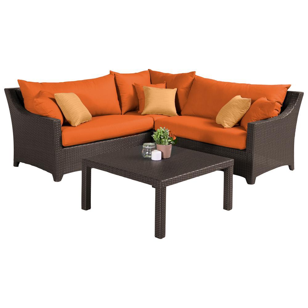 Deco 4-Piece Patio Sectional Seating Set with Tikka Orange Cushions