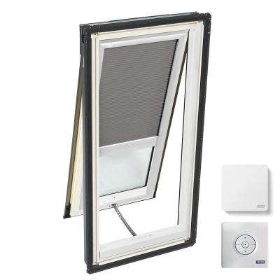 30-1/16 in. x 54-7/16 in. Venting Deck-Mount Skylight w/ Laminated Low-E3 Glass Grey Solar Powered Room Darkening Blind