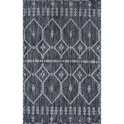 Tayse Rugs Veranda Charcoal 2 Ft X 3 Ft Outdoor Accent Rug Vnd2018 2x3 The Home Depot