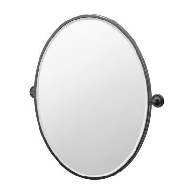 Designer II 25 in. W x 33 in. H Single Framed Oval Mirror in Matte Black