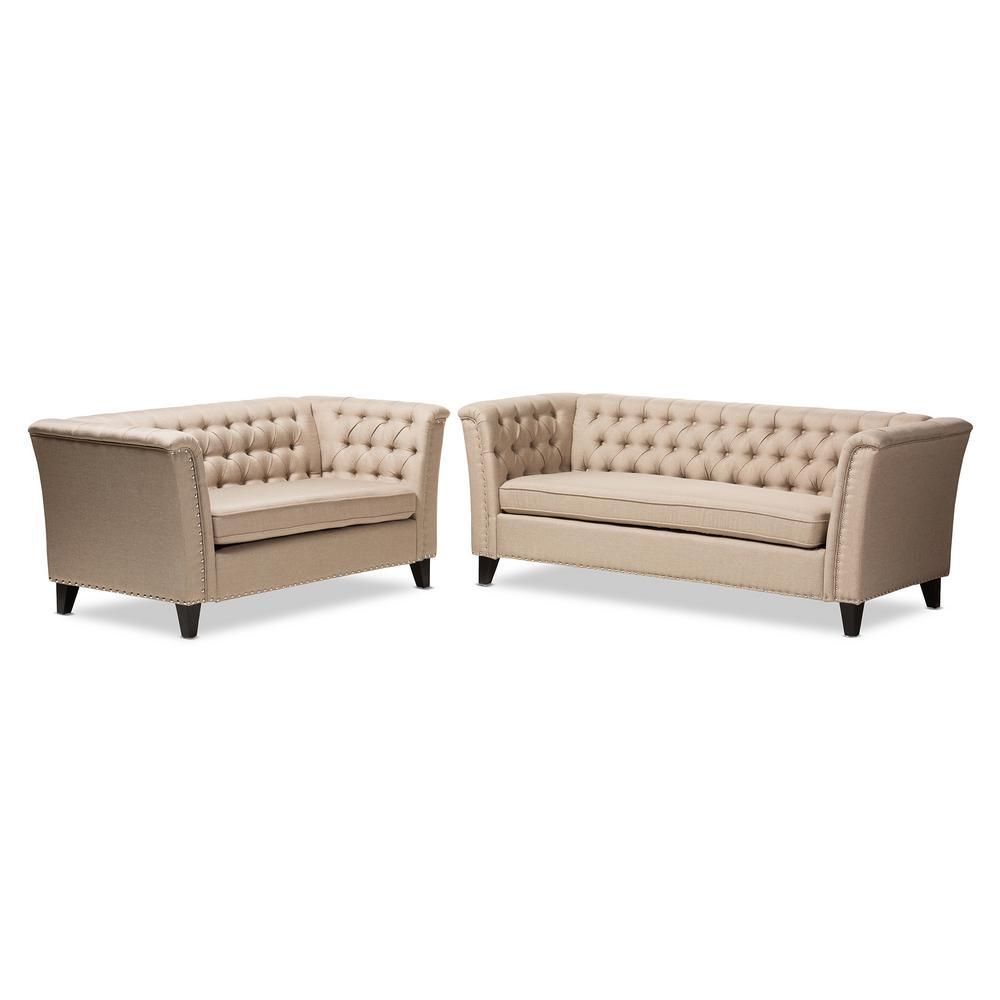 Baxton Studio Prima 2-Piece Beige Living Room Set-7738-7740-HD - The ...