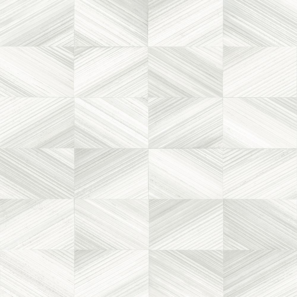 56.4  sq. ft. Stratum White Geometric Wood Wallpaper