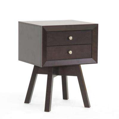 Morgan 2-Drawer Dark Brown Nightstand