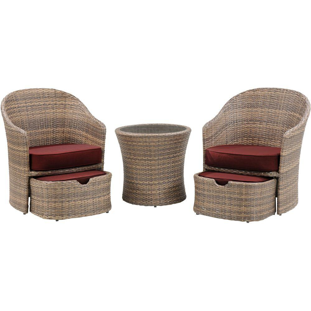 Hanover Seneca 5-Piece All-Weather Wicker Patio Chat Set ...