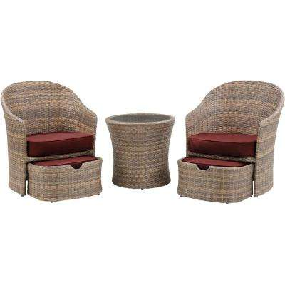 Seneca 5-Piece All-Weather Wicker Patio Chat Set with Crimson Red Cushions