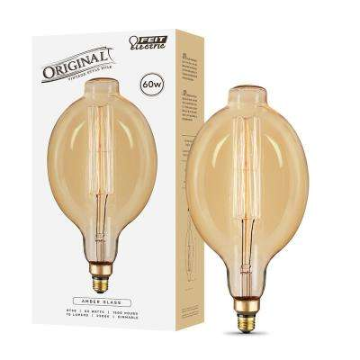 60W Soft White BT58 Dimmable Incandescent Antique Edison Amber Glass Filament Vintage Style Large Light Bulb