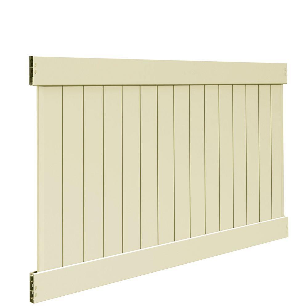 Linden 5 ft. H x 8 ft. W Sand Vinyl Un-Assembled Fence Panel