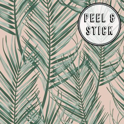 Transform Pink and Green Palm Peel and Stick Removable Wallpaper