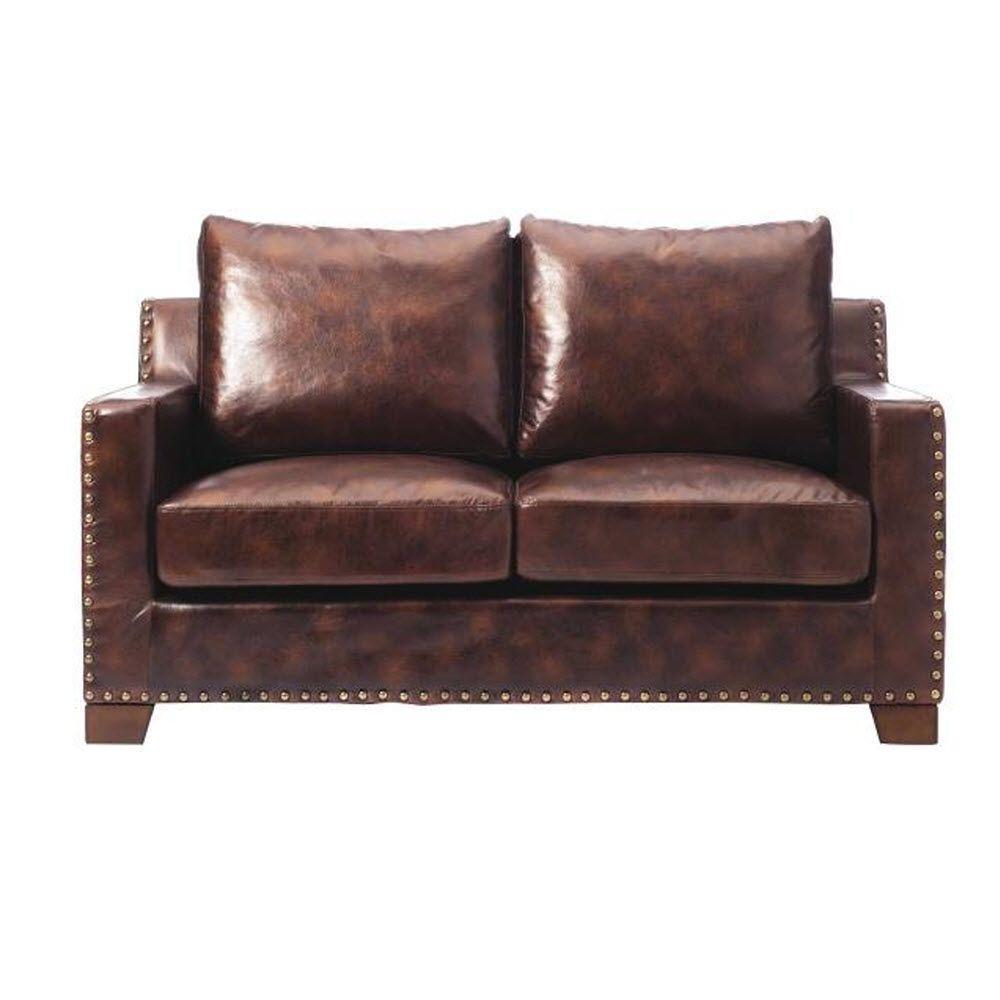 Garrison Brown Bonded Leather Loveseat