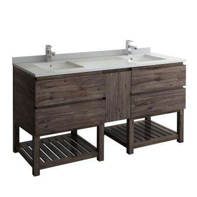 Formosa 72 in. Modern Double Vanity with Open Bottom in Warm Gray with Quartz Stone Vanity Top in White with White Basin