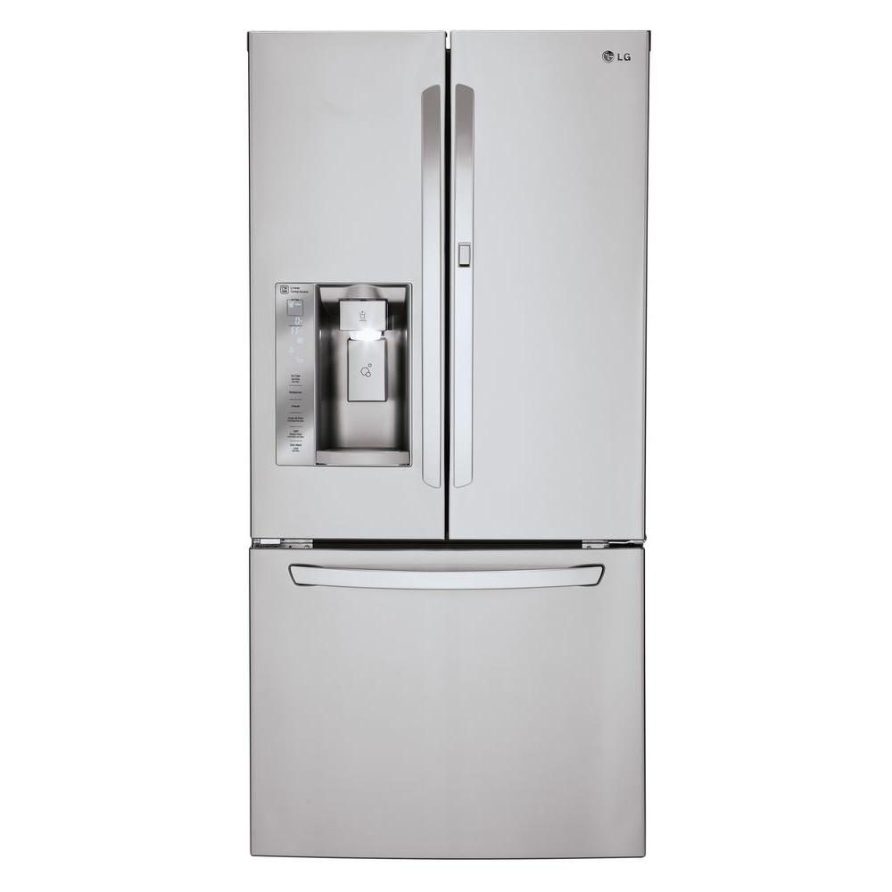 lg electronics 24 4 cu ft french door refrigerator with door in door in stainless steel. Black Bedroom Furniture Sets. Home Design Ideas