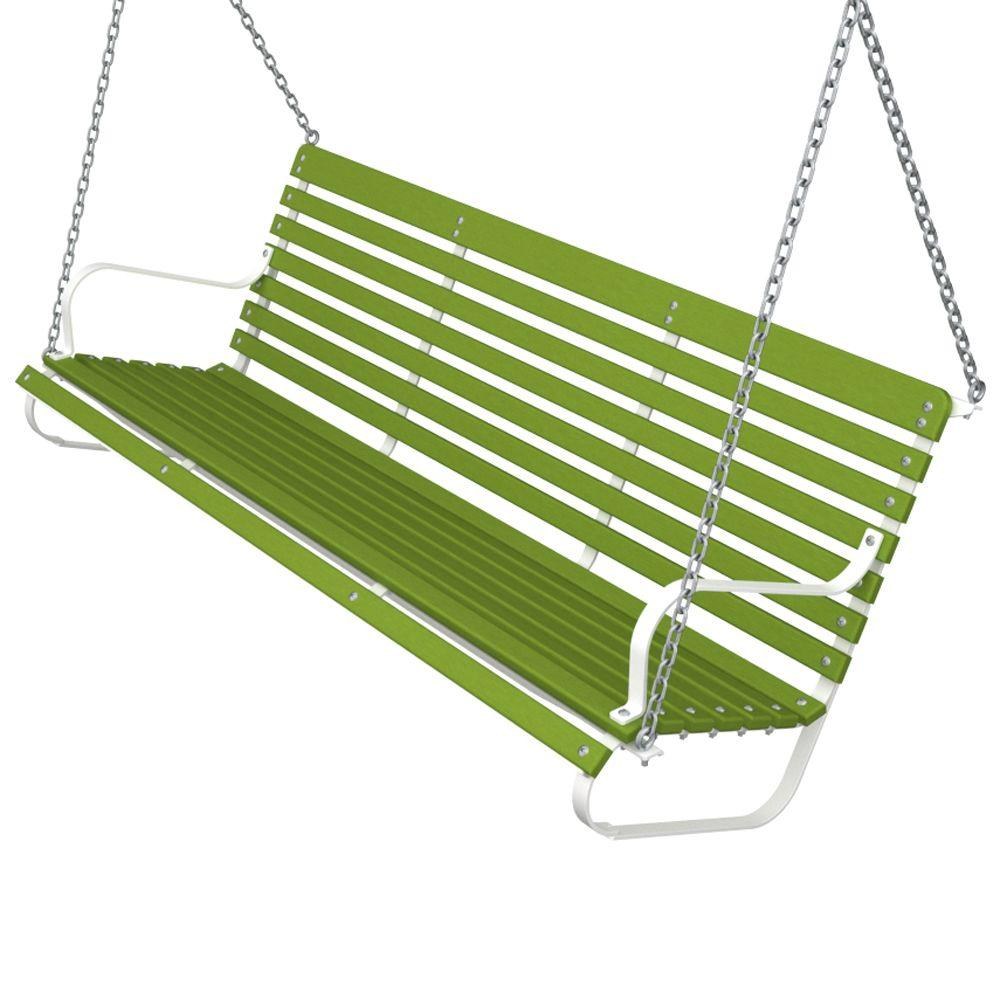 Ivy Terrace 60 in. White and Lime Patio Swing-DISCONTINUED