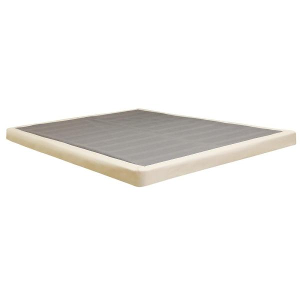 Sleep Options Quick Assembly Wood Foundation with Cover 4 in. Queen