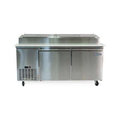 16 cu. ft. 2-Door Pizza Prep Table Commercial Refrigerator in Stainless Steel