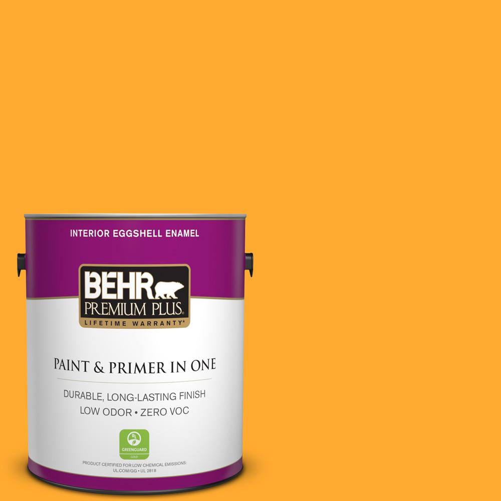 BEHR Premium Plus 1 gal. #S-G-310 Peach Butter Eggshell Enamel Zero VOC Interior Paint and Primer in One
