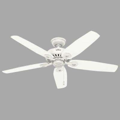 Builder Elite 52 in. Indoor/Outdoor Snow White Ceiling Fan bundled with Hunter Handheld Remote Control