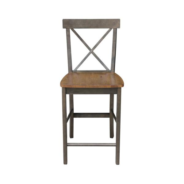 Alexa Hickory/Coal x Back 24 in. H Counter Stool