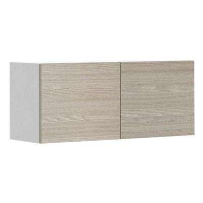 Ready to Assemble 36x15x12.5 in. Geneva Wall Bridge Cabinet in White Melamine and Door in Silver Pine