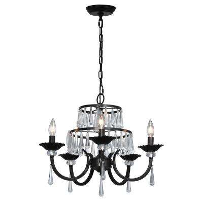 5-Light Daisey Dark Bronze Chandelier