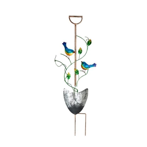36 in. Metal Garden Shovel Yard Stake with Birds