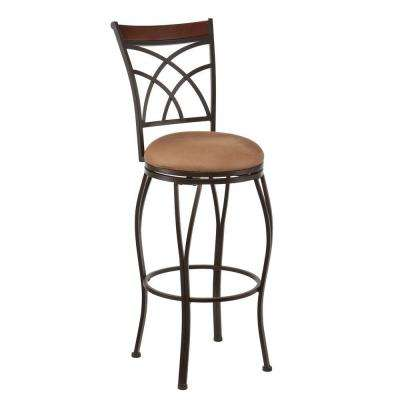 Harper 30 in. Dark Champagne Swivel Cushioned Bar Stool