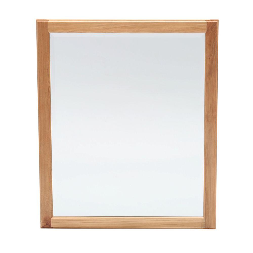 Glacier Bay Hampton 28 in. x 34 in. Framed Vanity Mirror in Natural ...