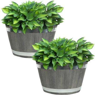 Chateau 17 in. Gray Fiber Clay Round Barrel Durable Indoor/Outdoor Use Planter Flower Pot (Set of 2)