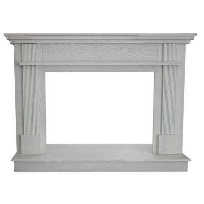 56-1/2 in. x 40-1/2 in. Wood Mantle in White Wood Grain