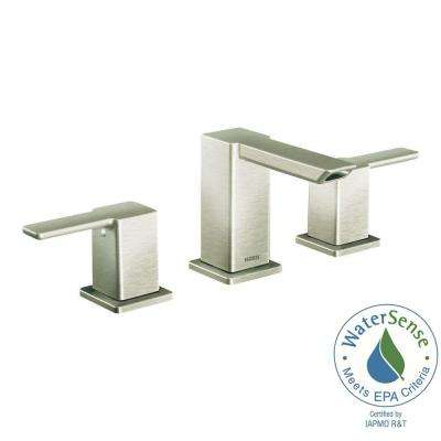 90-Degree 8 in. Widespread 2-Handle Mid-Arc Bathroom Faucet Trim Kit in Brushed Nickel (Valve Not Included)