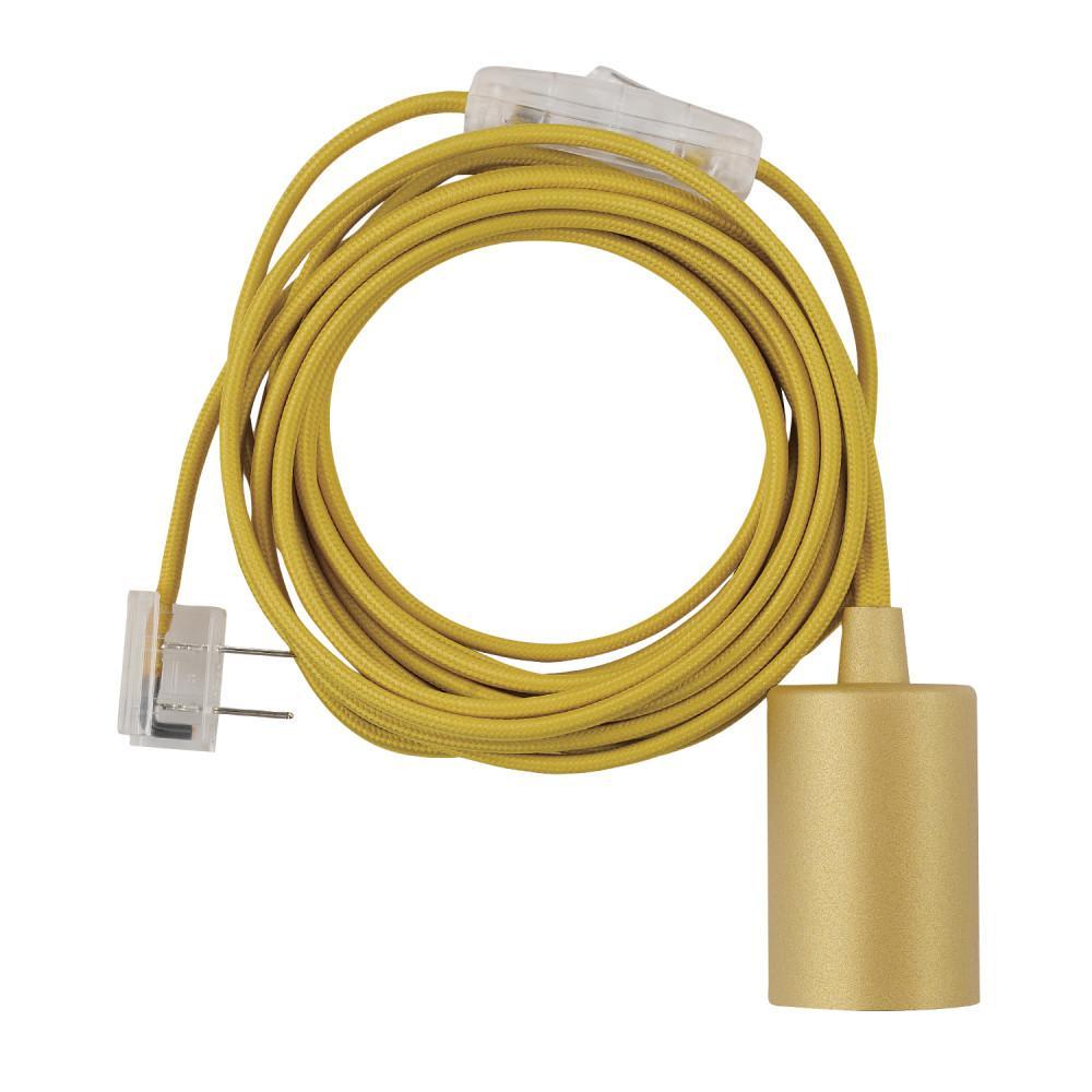Emile 1-Light Mellow Yellow Plug-In Exposed Socket Pendant