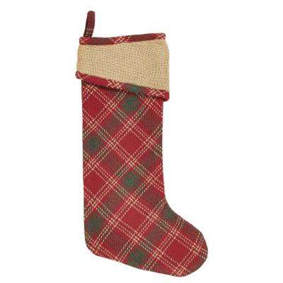 20 in. Cotton Whitton Apple Red Rustic Christmas Decor Stocking