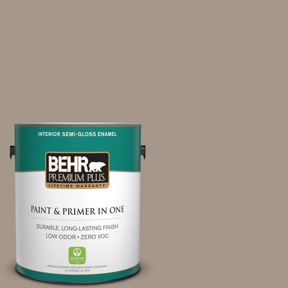1 gal. #PPU5-07 Studio Taupe Zero VOC Semi-Gloss Enamel Interior Paint