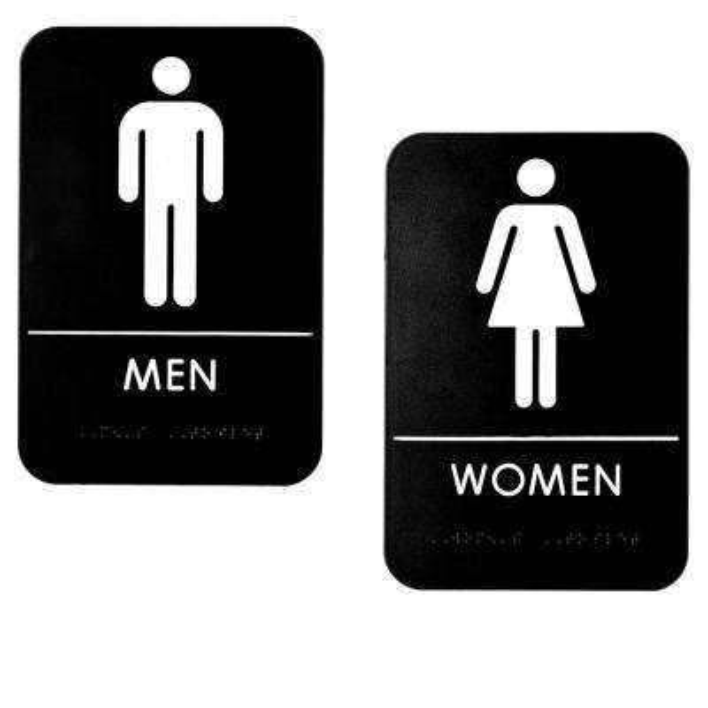 9 in. x 6 in. Black Men and Women Restroom Sign (2-Pack)