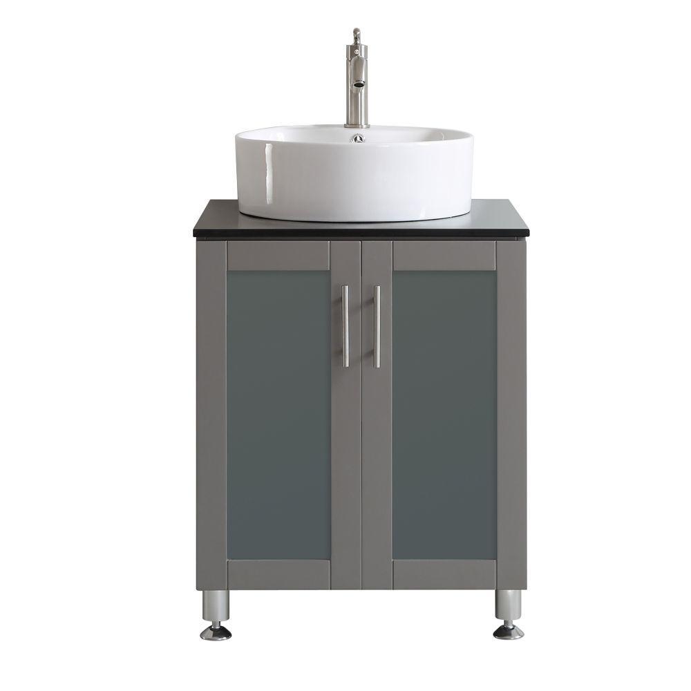 Vinnova Tuscany 24 In W X 22 In D X 30 In H Vanity In Grey With Glass Vanity Top In Black