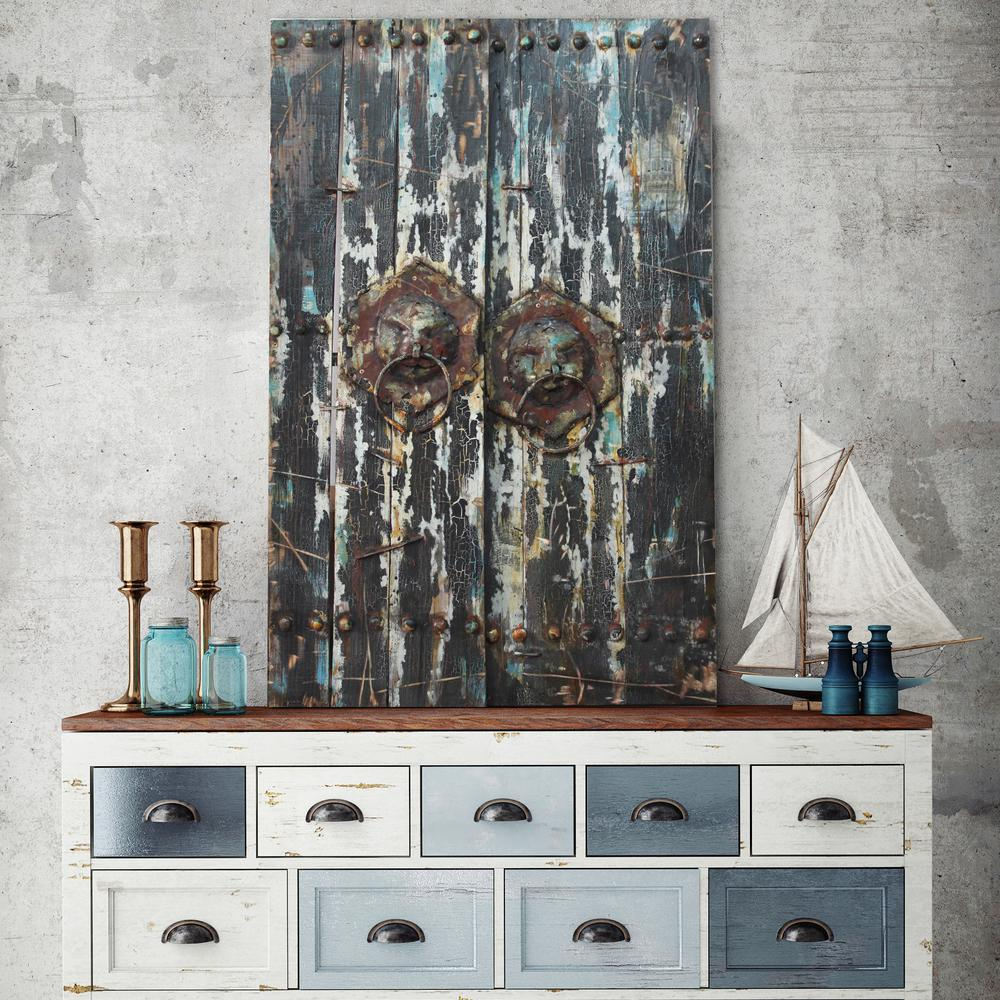 """47 in. x 30 in. """"Antique Wooden Doors 2"""" Mixed Media Iron Hand Painted Dimensional Wall Art"""