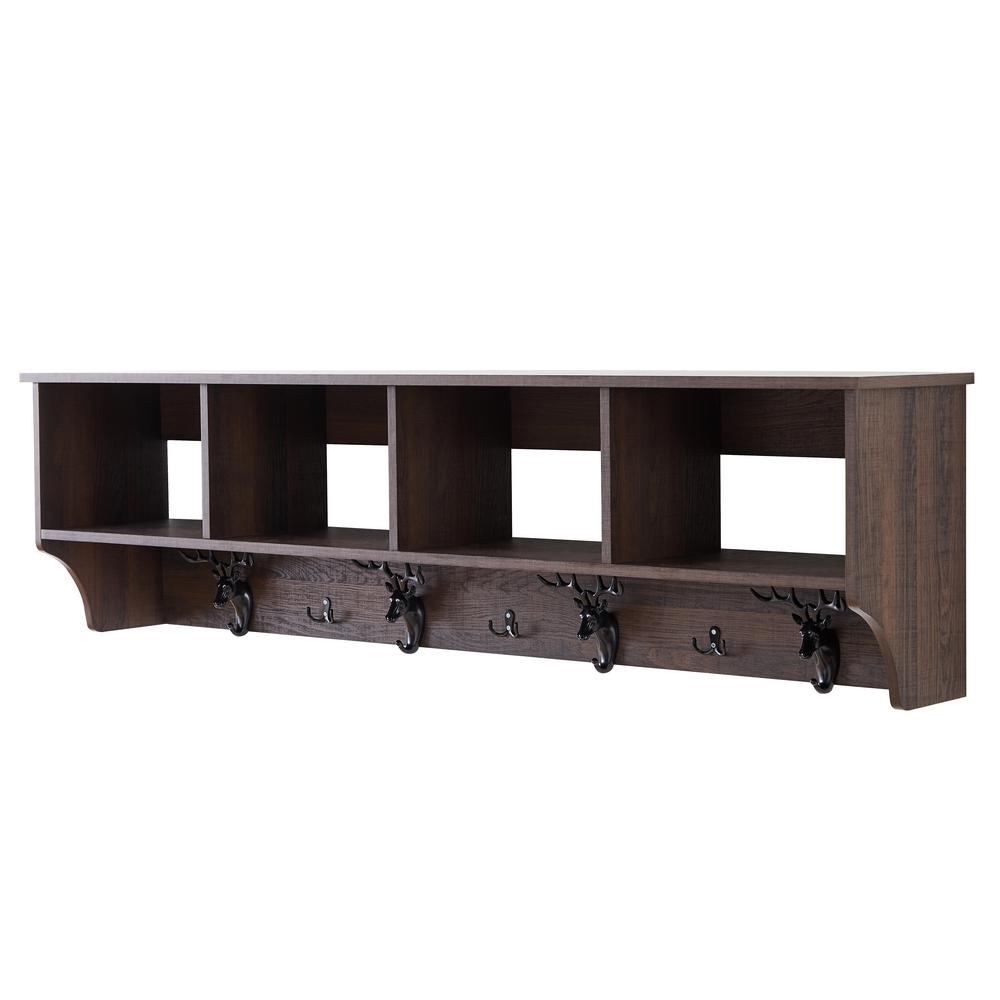 Home Beyond Troyes Dark Brown 7 Hook Wall Mounted Coat Rack With Storage F10004dw Bk The Home Depot