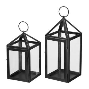 Home Decorators Collection Black Powder Coated Metal Candle Hanging or Tabletop Lantern (Set of 2)