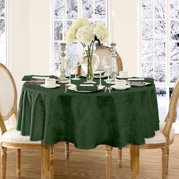 Elrene 70 in. Round Hunter Elrene Barcelona Damask Fabric Tablecloth