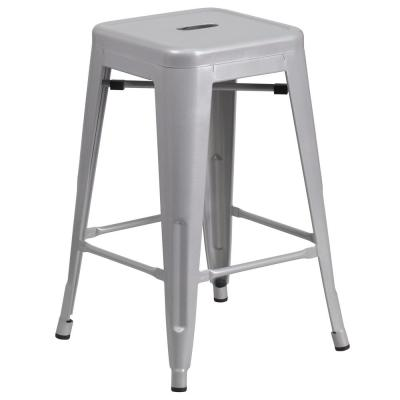 24 in. Silver Bar Stool