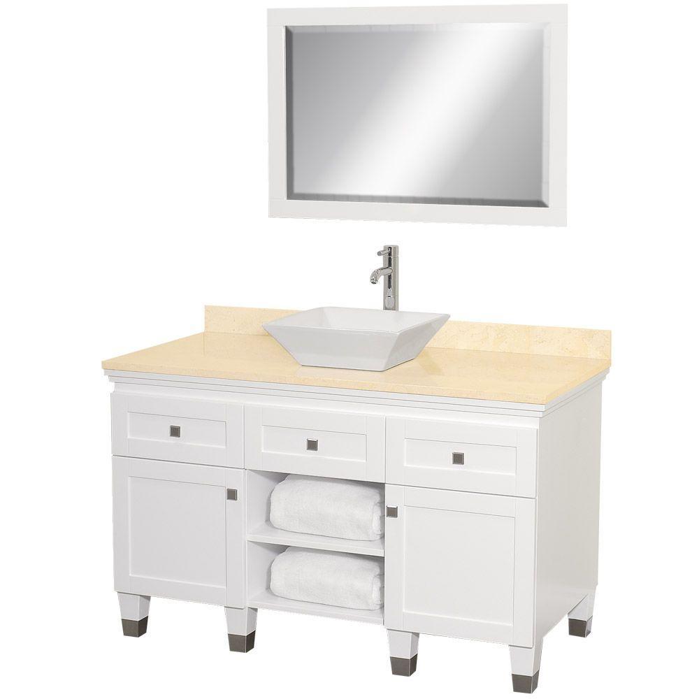 Vanity White Marble Vanity Top Ivory Bone Porcelain Sink Mirror Photo 1387