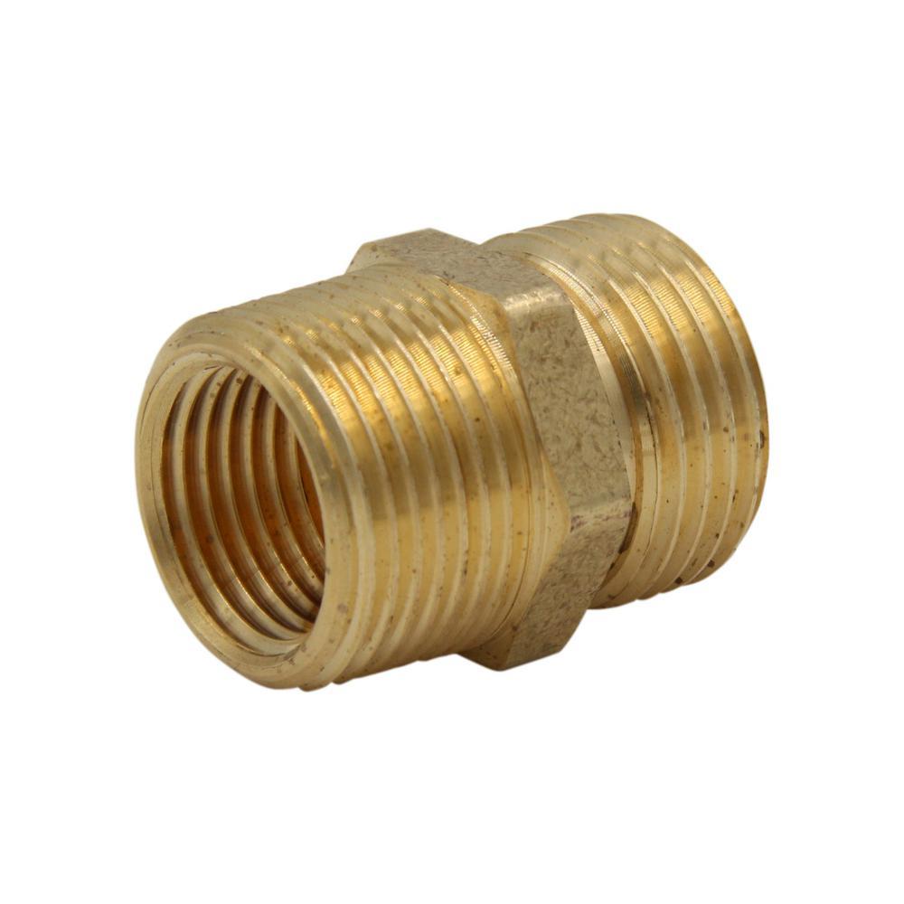 Lead-Free Brass Garden Hose Adapter 3/4 in. MGH x 3/4 in. MIP x Tapped 1/2 in. FIP