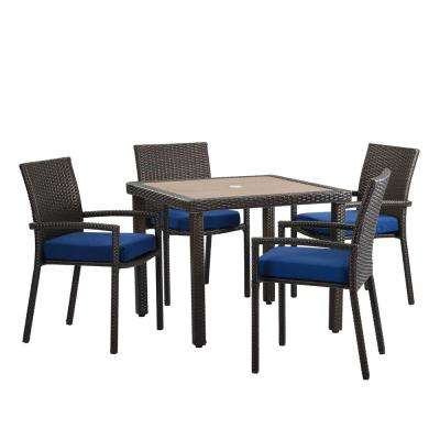 Positano Brown 5-Piece Wicker Outdoor Dining Set with Navy Cushions