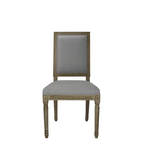 Louis Weathered Grey Upholstered Square Side Chair (Set of 2) DWC-592GY