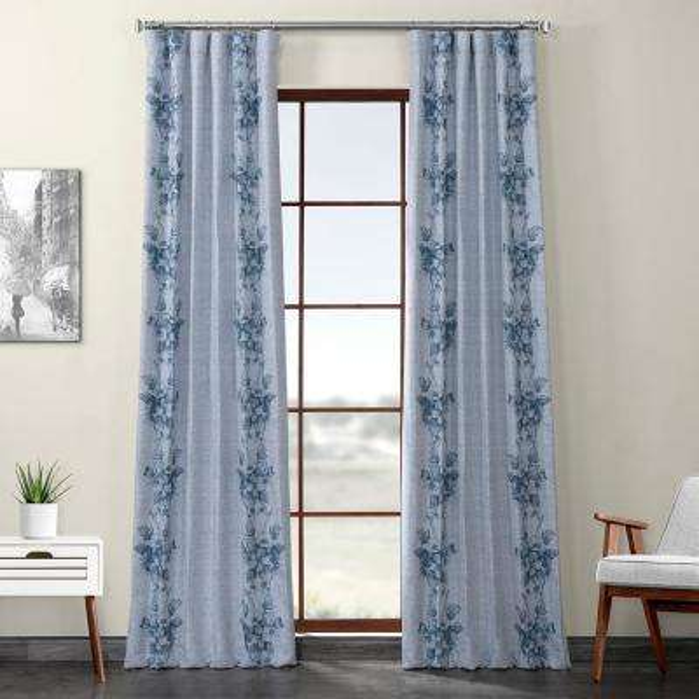 Copenhagen Blue Printed Linen Textured Blackout Curtain - 50 in. W x 120 in. L (1-Panel)