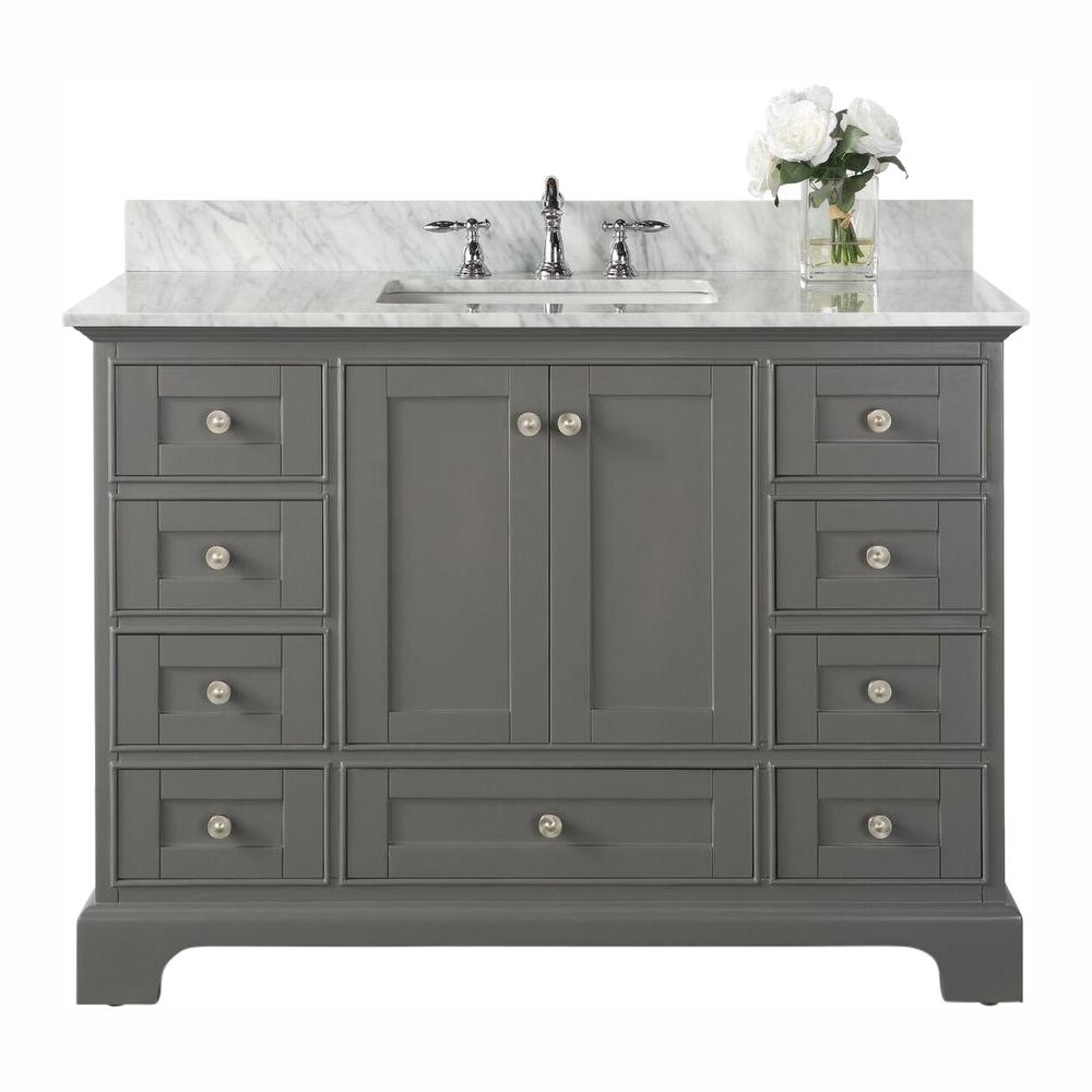 Ancerre Designs Audrey 48 in. W x 22 in. D Vanity in Sapphire Gray with Marble Vanity Top in Carrara White with White Basin