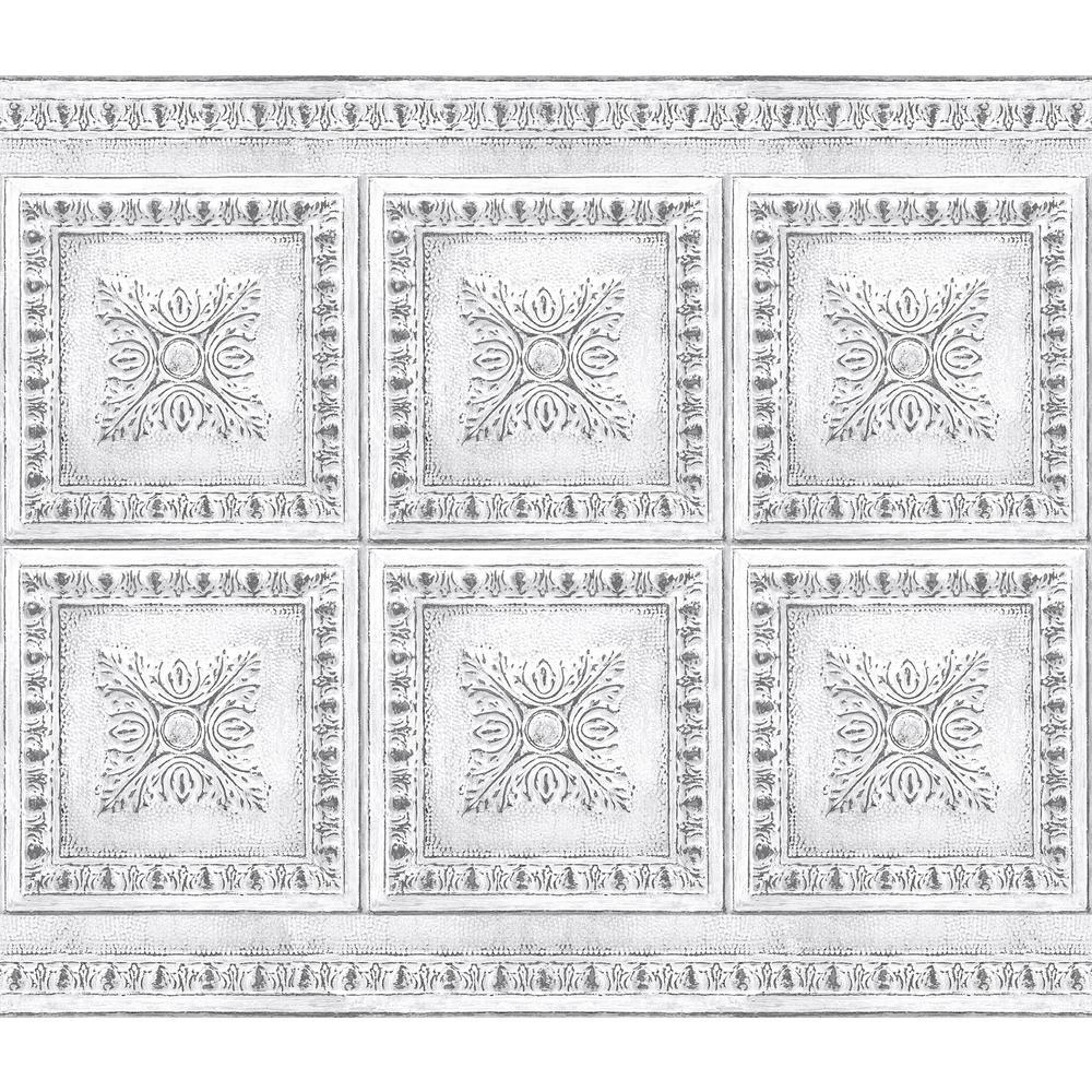 White Vintage Tin Peel and Stick Backsplash Wall Decal