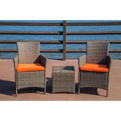 3-Piece Wicker Patio Conversation Set with Orange Cushions