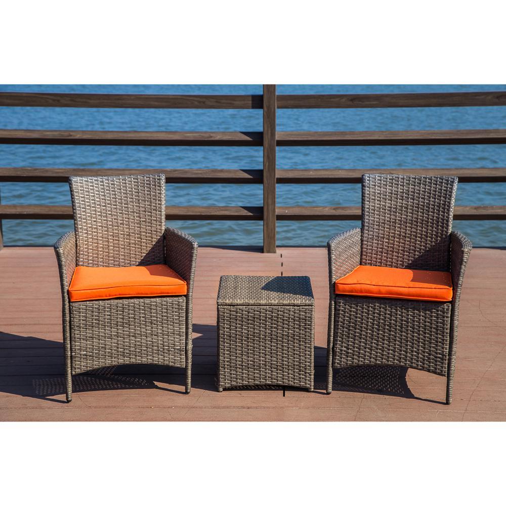3-Piece Wicker Patio Conversation Set with Orange Cushions